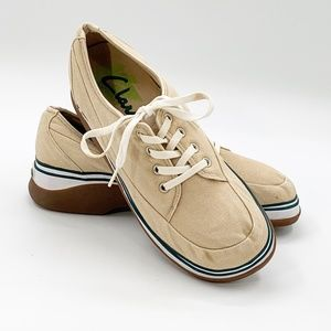 Clarks Womens Canvas Lace Up Size 7.5 M Boat Shoes